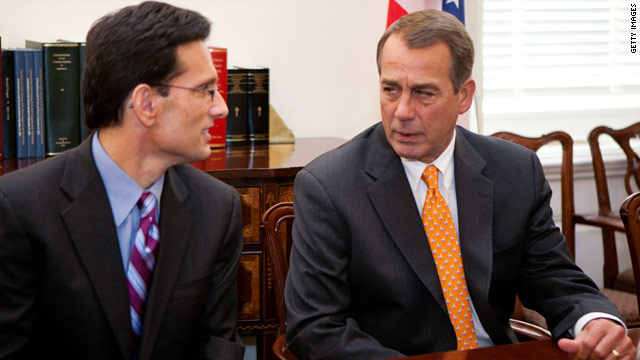 Reps. Eric Cantor, left, and John Boehner are expected to lead the GOP budget-cutting efforts in the new Congress.