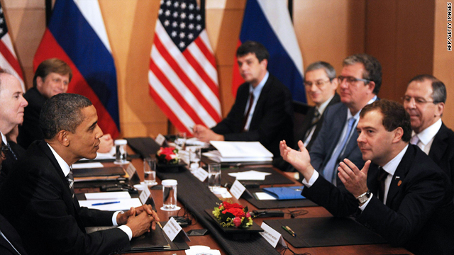 U.S. President Barack Obama and Russian President Dmitry Medvedev hold a bilateral meeting in Yokohama, Japan, Sunday.