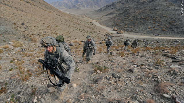 Critics says U.S. troops, such as this patrol in Afghanistan, cannot afford to keep fighting perpetual wars around the globe.