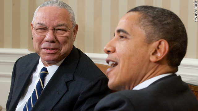 Barack Obama speaks with Colin Powell during a meeting in the Oval Office on Wednesday.