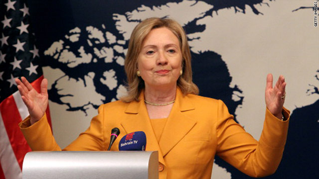 US Secretary of State Hillary Clinton speaks on Friday during a press conference at the foreign ministry in Manama while on a two-day visit to Bahrain.