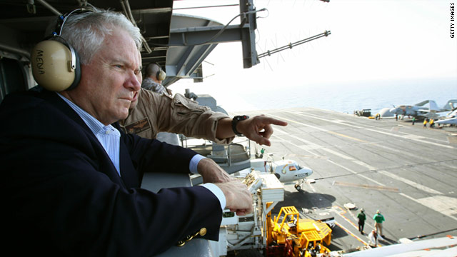 Defense Secretary Robert Gates visits the USS Abraham Lincoln on Monday. It's deployed in the Persian Gulf.