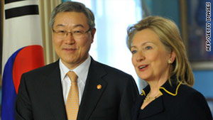 Secretary of State Hillary Clinton greets South Korean Foreign Minister Kim Sung-hwan at the State Department on Monday.