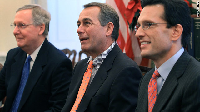 Senate Minority Leader Mitch McConnell, from left, and Reps. John Boehner and Eric Cant