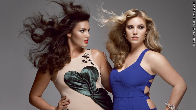 Plus-size models including Candice Huffine, left, and Michelle Olson were featured in V magazine's fashion spread.