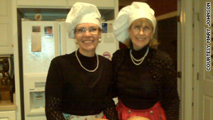 "Mary Johnson and Carolyn Mueller dressed up as Julia from ""Julie & Julia"" for their dinner party."