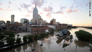 Floodwaters from the Cumberland River have deluged  Nashville, Tennessee, the capital of country music.