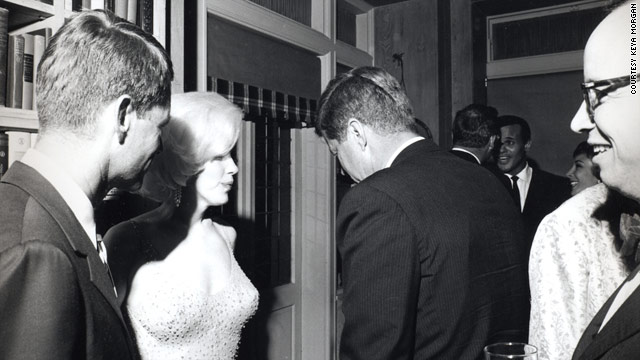Robert F. Kennedy, left, Marilyn Monroe and President John F. Kennedy in 1962 photo taken by Cecil Stoughton. Historian Arthur Schlesinger is on the far right. Singer Harry Belafonte can be seen facing the camera in the rear