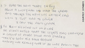 "John Lennon's autographed lyrics for the hit Beatles song ""A Day in the Life"" sold for $1.2 million at an auction."