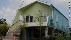 In New Orleans' Lower 9th Ward, where Katrina did much damage, Pitt's Make It Right nonprofit built this home.