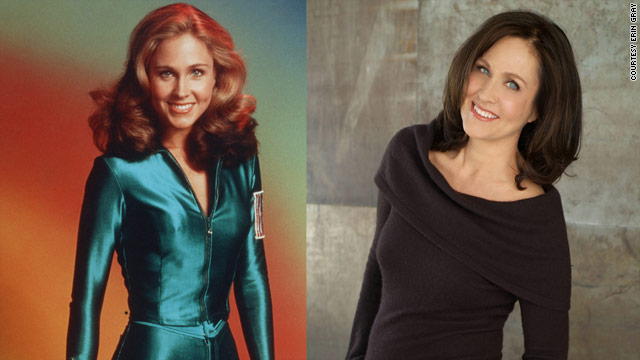 Erin Gray in the uniform that made her a celebrity, left, and today as a celebrity handler.