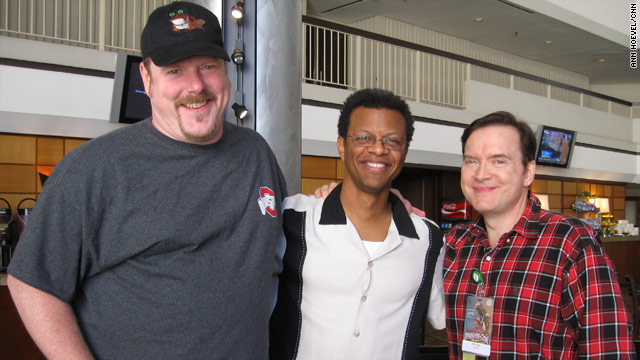"""Futurama"" voice actors John DiMaggio, from left, Phil LaMarr and Billy West discuss nerds, geeks and guest stars with CNN."
