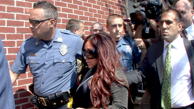 """Jersey Shore"" star Nicole ""Snooki"" Polizzi is seen arriving for court on Wednesday."
