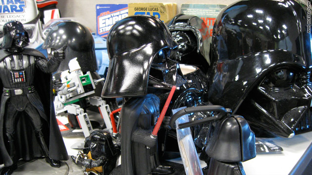 "Topher Kohan's desk at CNN.com, where he proudly displays his love of ""Star Wars"" and Darth Vader."