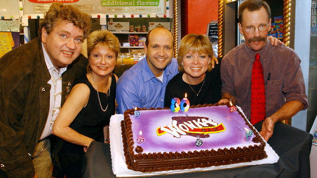 "Thecast of ""Willy Wonka"" --  Michael Bollner, Denise Nickerson, Paris Themmen, Julie Dawn Cole and Peter Ostrum -- all grown up."