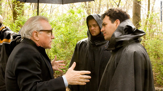 "Martin Scorsese directs Leonardo DiCaprio and Mark Ruffalo in the elements on the set of ""Shutter Island."""