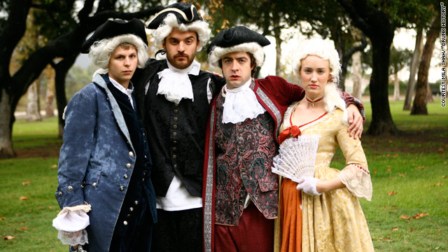 "Michael Cera (far left) and Jake Johnson (second from left) play Alexander Hamilton and Aaron Burr in the first ""Drunk History."""