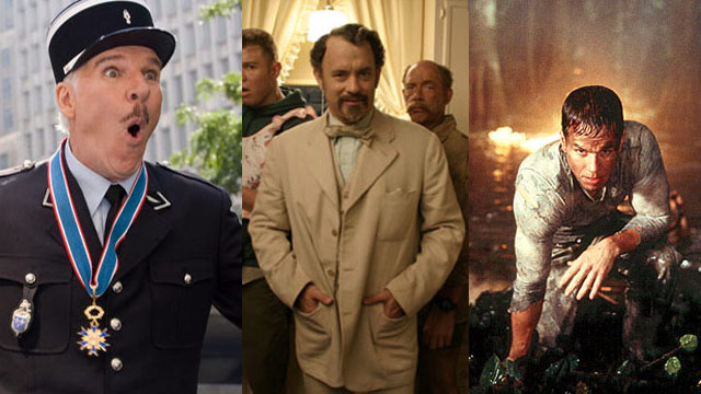 "Bad remakes: Steve Martin in ""Pink Panther 2,"" Tom Hanks in ""The Ladykillers"" and Mark Wahlberg in ""Planet of the Apes."" (PHOTOS: Sony Pictures/Walt Disney/20th Century Fox)"