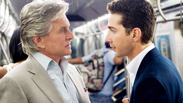 "Michael Douglas, as Gordon Gekko, takes on a young trader (Shia LaBeouf) in ""Wall Street: Money Never Sleeps."""