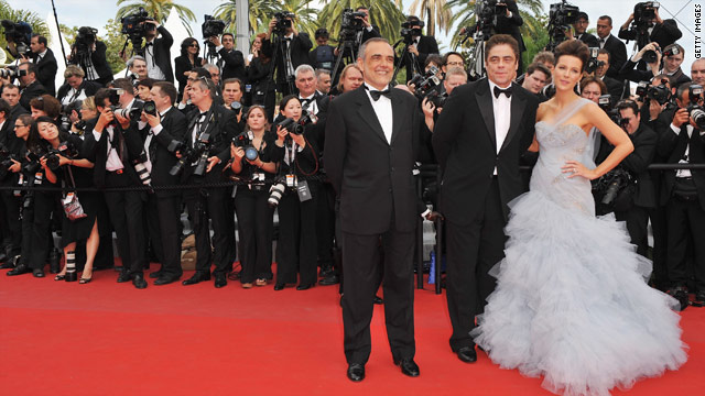 Cannes Film Festival jury members Alberto Barbera, Benecio Del Toro and Kate Beckinsale at the Palais des Festivals.