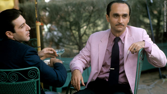 "Actors Al Pacino and John Cazale in a scene from the Academy Award-winning film ""The Godfather: Part II."""