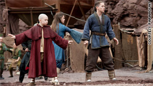 The characters Aang, Katara and Sokka, from left to right, undergo substantial changes from their TV series beginnings.