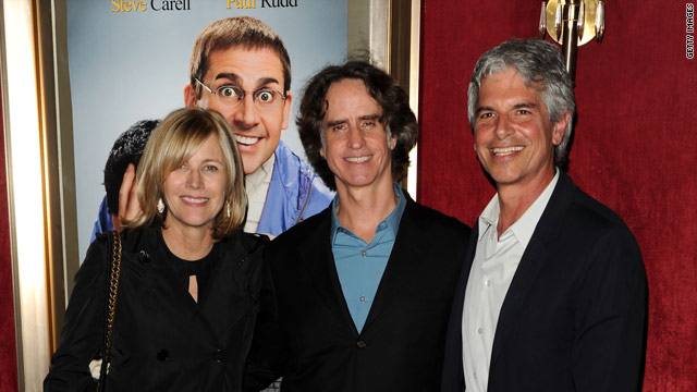 "Director Jay Roach stands between producers Laurie MacDonald and Walter F. Parkes at the New York  premiere of ""Dinner For Schmucks."""