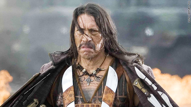 Danny Trejo, 66, looks like four miles of torn-up road, but here he is convincingly kicking pretty-boy ass.