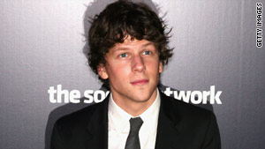 "Jesse Eisenberg stars in ""The Social Network,"" which kept its No. 1 spot at the box office for a second week in a row."