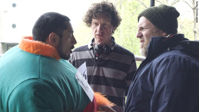 "Chris Morris, center, on the set of ""Four Lions,"" says audiences at screenings have been laughing at his film."