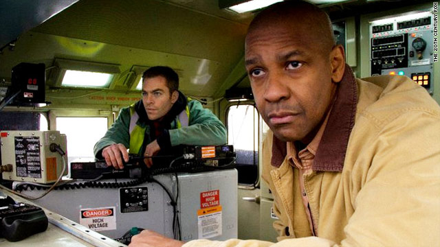 "Denzel Washington and Chris Pine star in the new Tony Scott-directed thriller ""Unstoppable."""