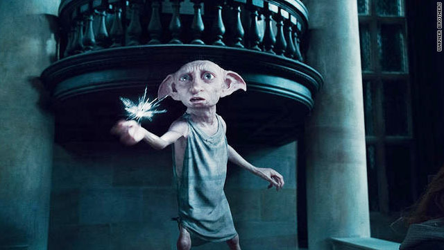 Dobby the house elf heroically saves his friends from Bellatrix Lestrange in the Malfoy mansion, but at a great cost.