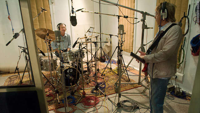 Pink Floyd drummer Nick Mason and former Rolling Stone Bill Wyman take part in a recording at Abbey Road in September.