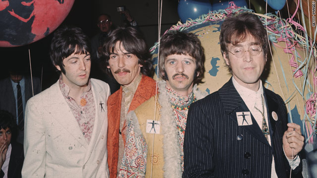 "The Beatles take part in a TV special in the summer of 1967, shortly after the release of ""Sgt. Pepper's Lonely Hearts Club Band."""