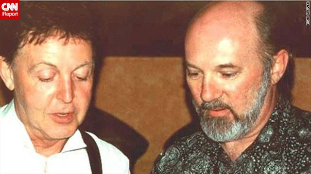 Rick Glover and Sir Paul McCartney at the Iridium Jazz Club in New York, June 2001.