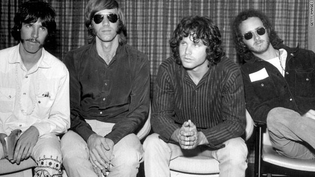 Jim Morrison (second from right) died in Paris in 1971 while his appeal against the conviction was pending.