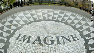 The John Lennon memorial in Strawberry Fields in New York's Central Park.