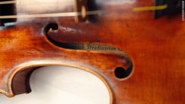 A Stradivarius pictured at the restoration and research laboratory of the Musee de la Musique in Paris, December 3, 2009.