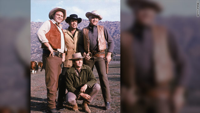 "Pernell Roberts, standing at center, co-starred in ""Bonanza"" with Dan Blocker, left, Lorne Greene, right, and Michael Landon."