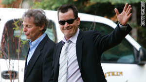 Sheen leaves after appearing at a court hearing in Aspen, Colorado on Monday.