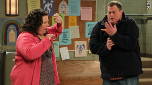 "Melissa McCarthy and Billy Gardell fall in love in ""Mike & Molly."""