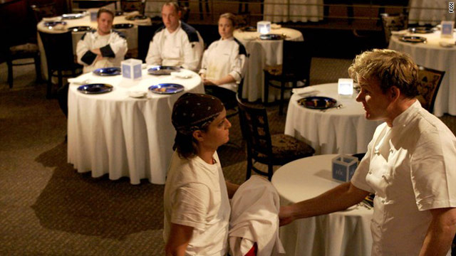 "Rachel Brown, left, is shown being eliminated by Gordon Ramsay on ""Hell's Kitchen"" in 2006. She committed suicide in 2007."