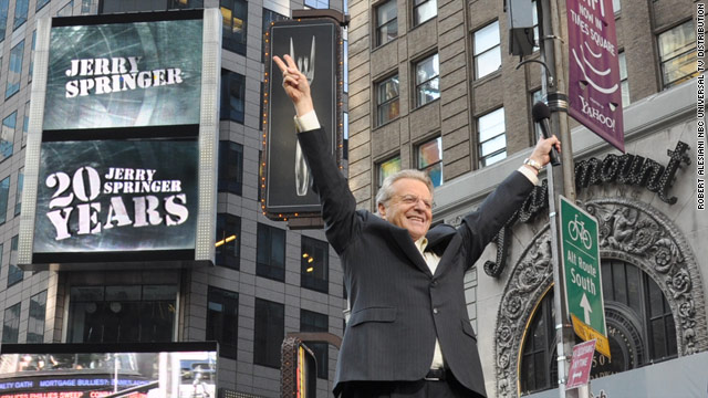 Talk show host Jerry Springer in New York's Times Square celebrating 20 years of the air.