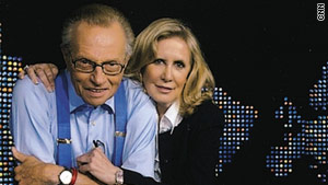 "Larry King and Wendy Walker on June 30, the night King announced he was ""hanging up his nightly suspenders."""