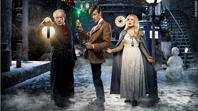 Doctor Who, played by Matt Smith, center, meets some people in need of Christmas cheer on a distant planet.