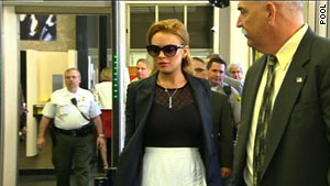 Lindsay Lohan arrives at a court in Beverly Hills, California, on Friday.