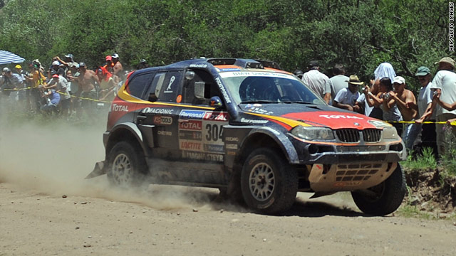 Spain's Nani Roma in his BMW en route to victory in stage one of the Dakar 2010 between Colon and Cordoba.