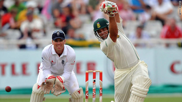 Kallis shows his style with an impressive offside shot as England wicketkeeper Matt Prior can only watch on.