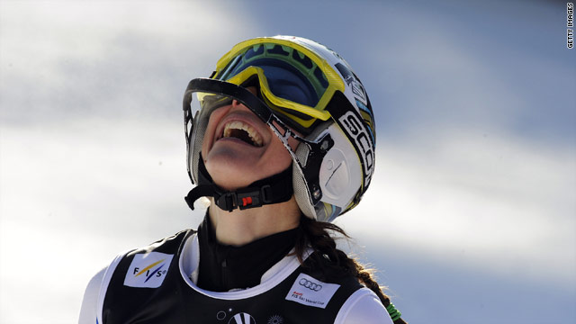 Aubert is overjoyed after claiming her second World Cup victory of the season in the slalom.