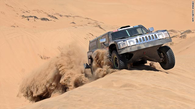 Robby Gordon steers his Hummer through sand dunes during the fourth stage of the Dakar Rally on Tuesday.
